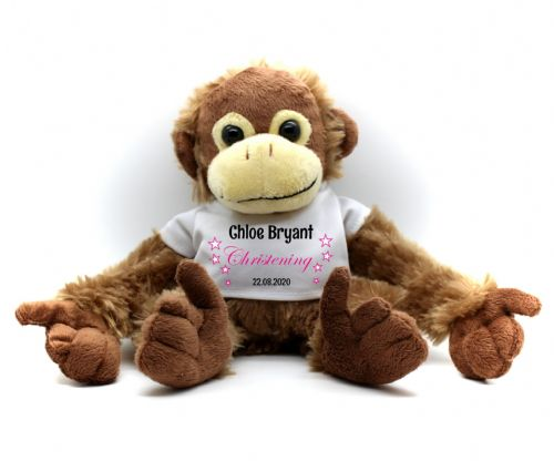 Personalised Monkey Teddy Bear N1 - Girls Christening Gift Keepsake